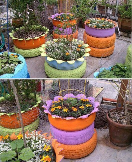 pedras jardim baratas : pedras jardim baratas:Tire Planters Garden