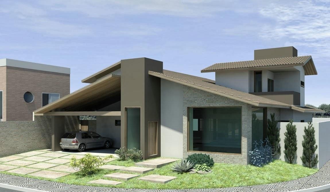 Fotos de fachadas de casas modernas com telhado aparente for Casas modernas 4 aguas