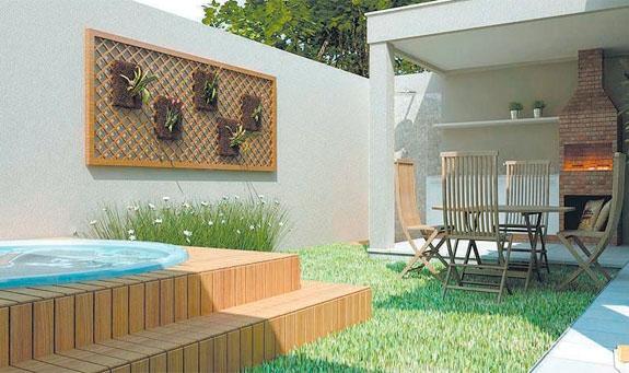Decoração de quintal simples e pequeno fotos  Decorando Casas -> Banheiro Simples Para Area De Lazer