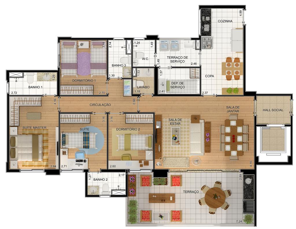 Plantas de casas com 4 quartos gr tis decorando casas for Plantas arquitectonicas de casas