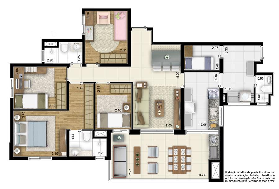 20170328130822 quarto com closet e banheiro planta for Decorando casa