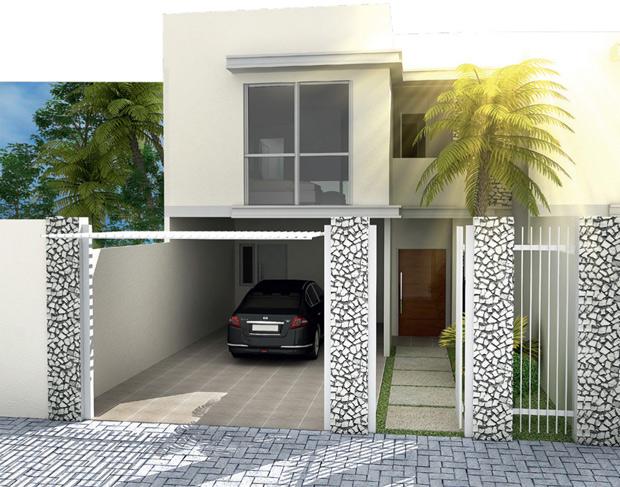Fachadas de sobrados pequenos e modernos : Decorando Casas