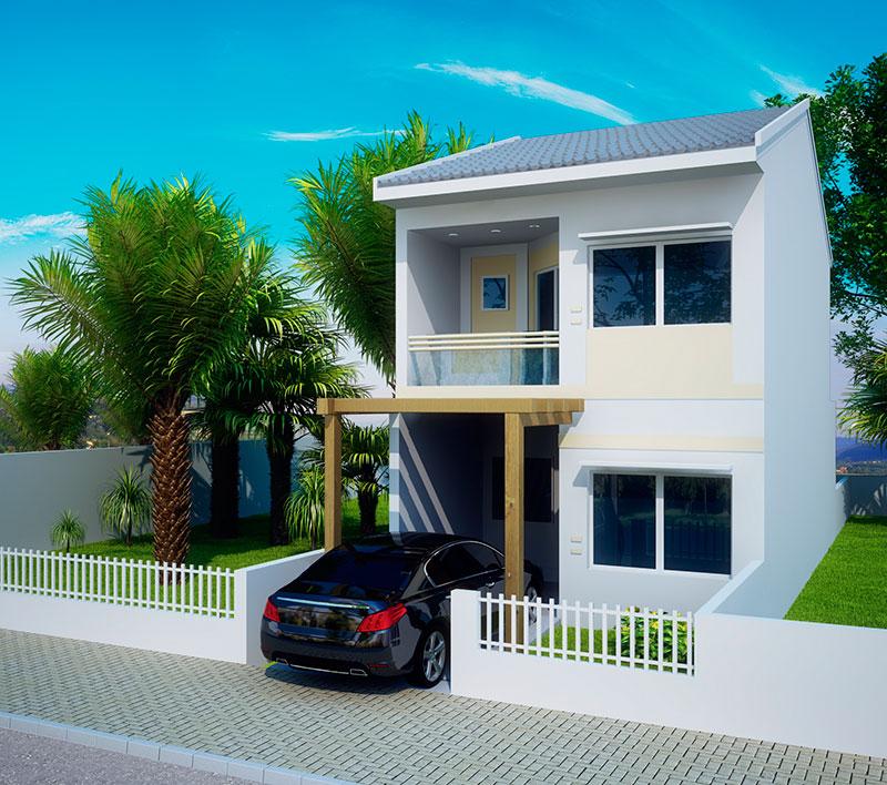 Fachadas de sobrados pequenos e modernos decorando casas for Fachadas de apartamentos modernas