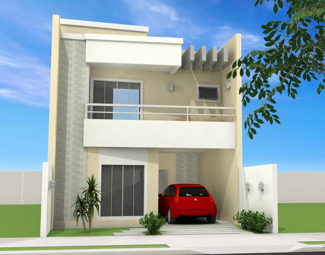 Fachadas de sobrados pequenos e modernos decorando casas for Fachadas para apartamentos pequenos