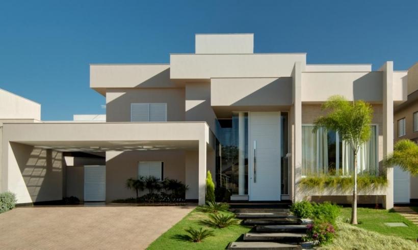 Fachadas de sobrados com telhado embutido decorando casas for Modelos de fachadas para casas