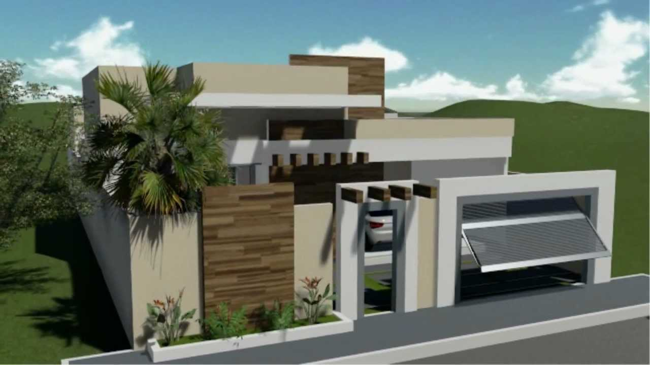 Fachadas de sobrados com telhado embutido decorando casas for Casas modernas de 70m2