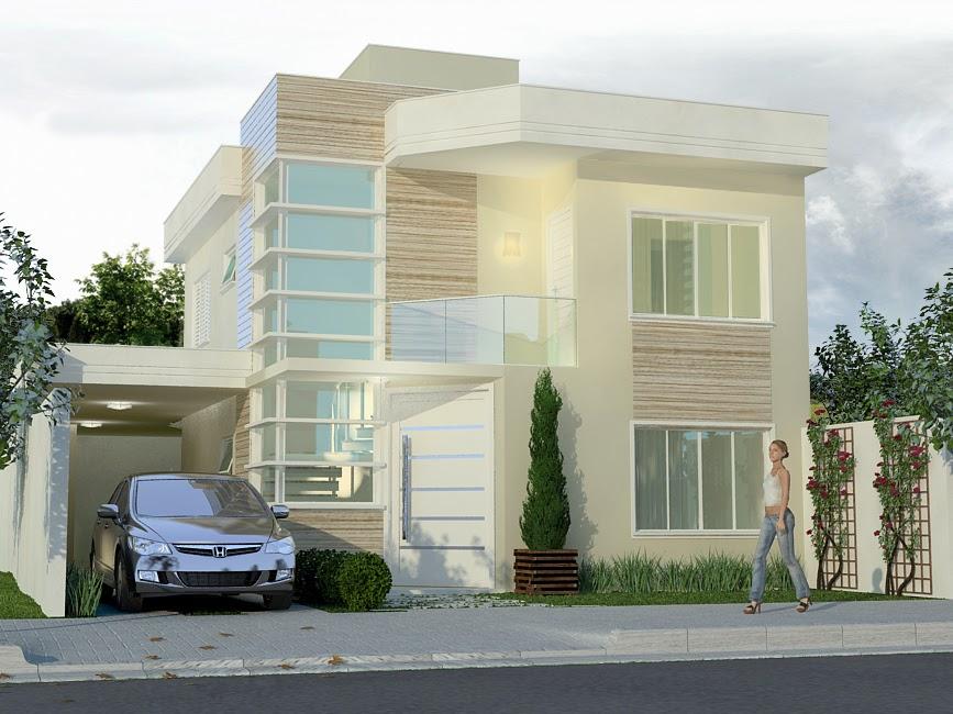 Fachadas de sobrados com telhado embutido decorando casas for Cores modernas para fachadas de casas 2016