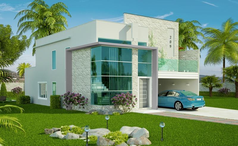 Fachadas de sobrados com telhado embutido decorando casas for Fachadas de casas modernas 1 pavimento