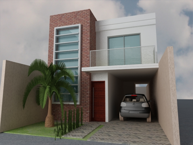 Fachadas de sobrados com telhado embutido decorando casas for Casas pequenas modernas minimalistas