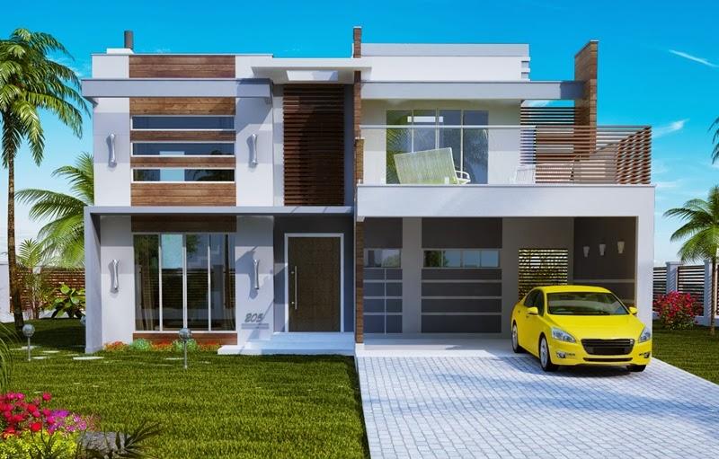 Fachadas de sobrados com telhado embutido decorando casas for Casas modernas brasil