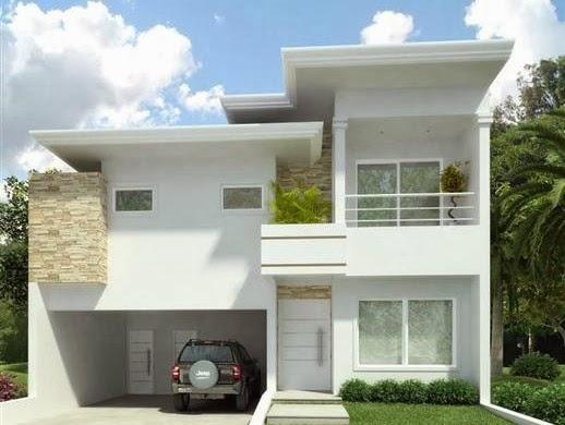 Fachadas de sobrados com telhado embutido decorando casas for Casa moderna 90m2