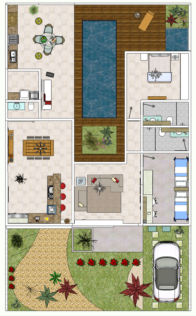 Plantas de casas modernas e econ micas decorando casas for Casa moderna de una planta