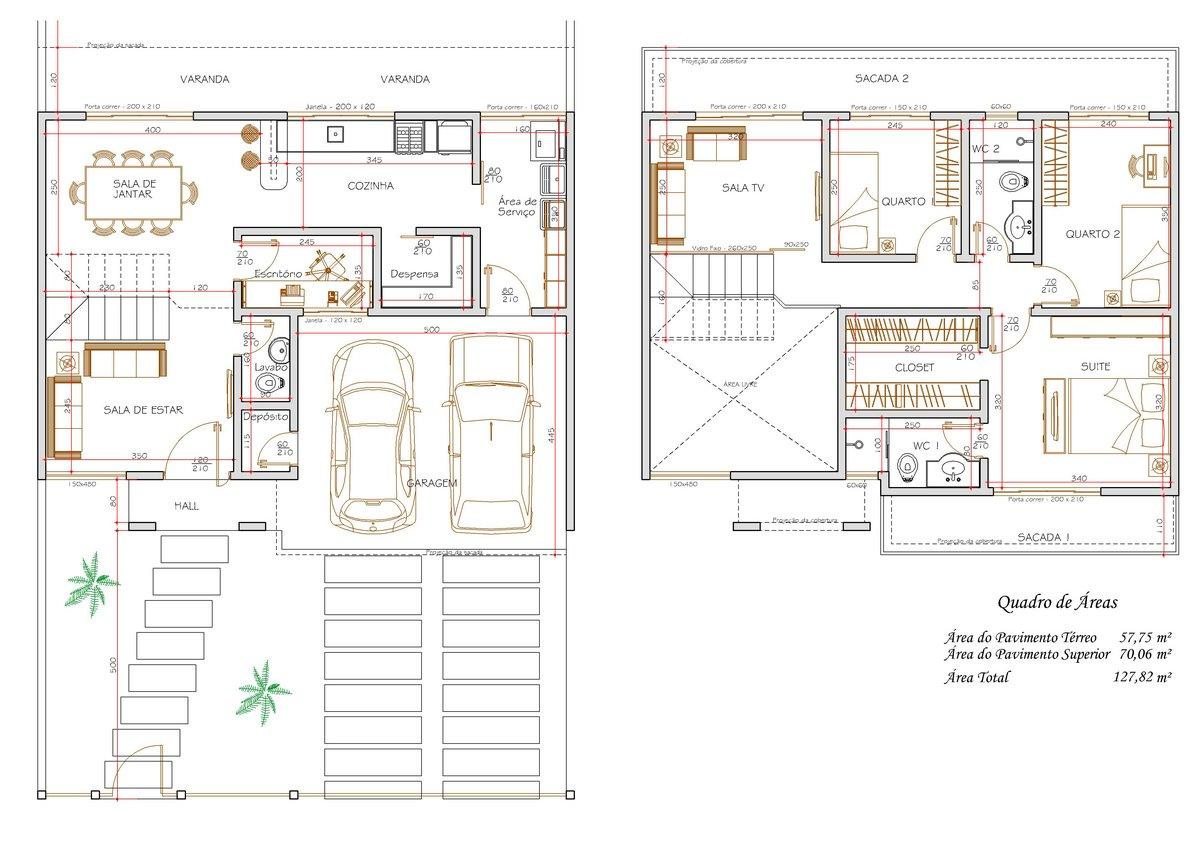 Plantas de sobrados com 3 quartos Decorando Casas #8C663F 1200 849