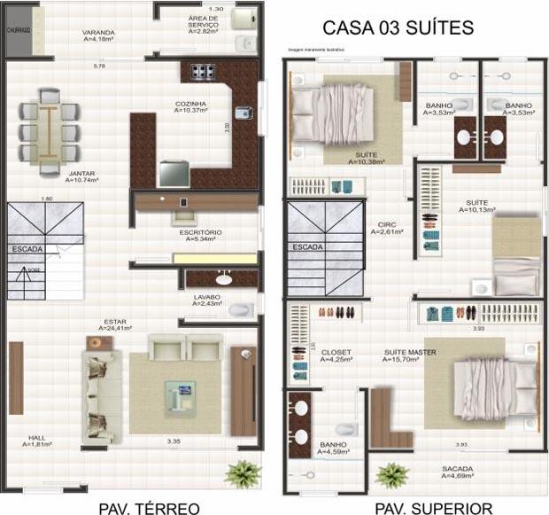 Plantas de sobrados com 3 quartos decorando casas for Planos de casas 5x25