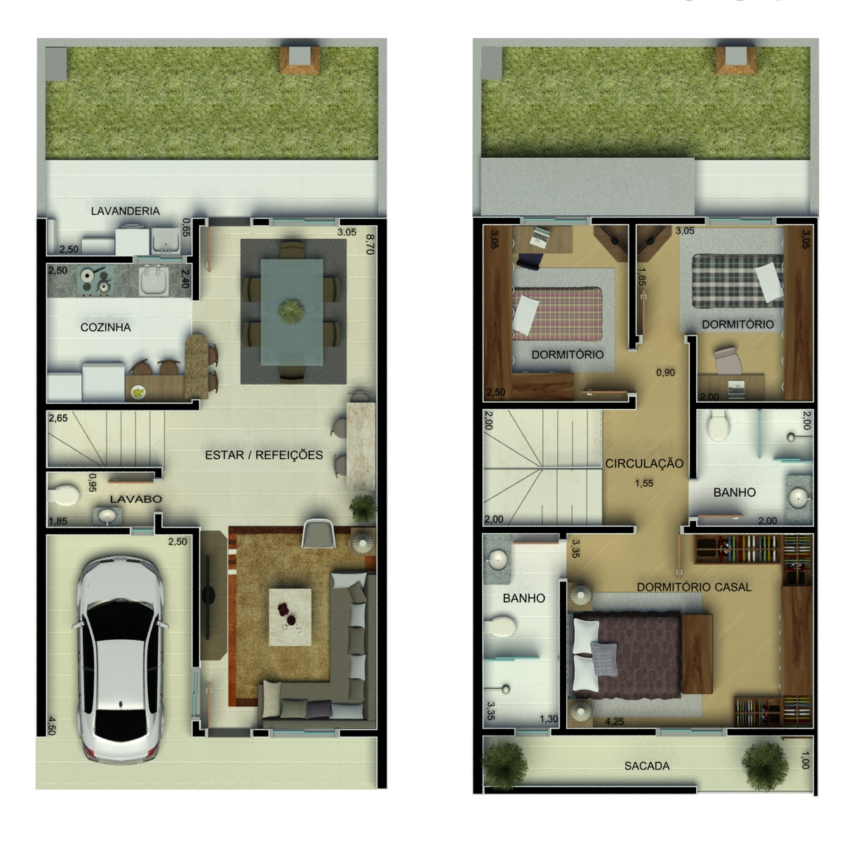 Plantas de sobrados com 3 quartos Decorando Casas #5E462B 1200 1200