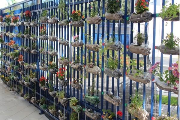 fazer jardim vertical garrafa pet:Jardim suspenso com garrafas pet passo a passo