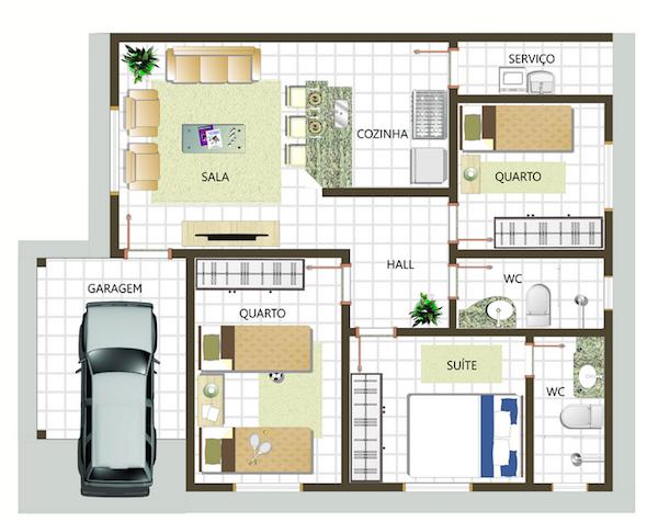 Plantas de casas 3 quartos 1 suite fotos decorando casas for Plantas de casas tipo 3 modernas