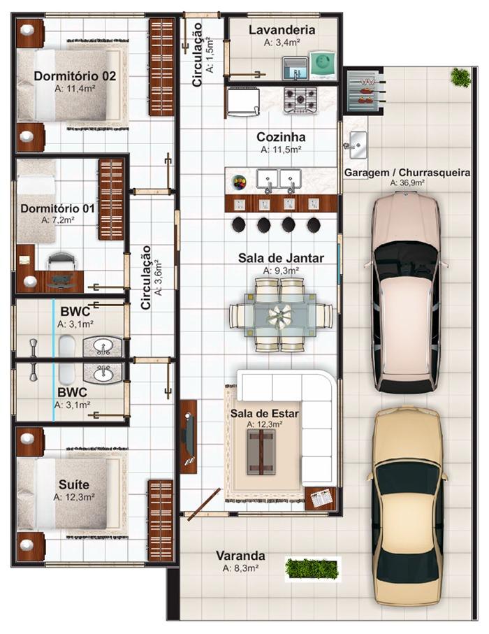 Plantas de casas 3 quartos 1 suite fotos decorando casas for Casas 1 planta