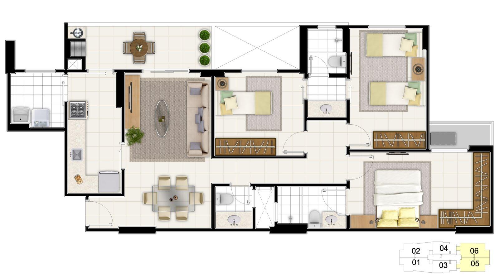 Plantas de casas 3 quartos 1 suite fotos Decorando Casas #674E2A 1600 892