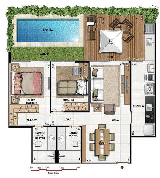 Plantas de casas 3 quartos 1 suite fotos decorando casas for Modelos de casas de campo de una planta