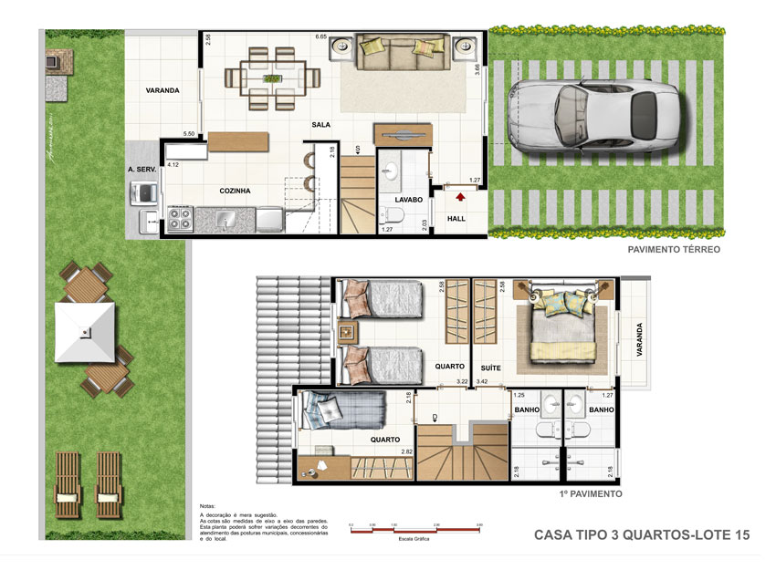Fabuloso Plantas de casas duplex simples e pequenas | Decorando Casas MC43