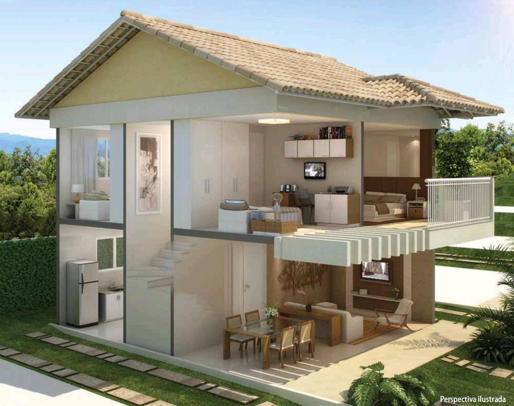 Plantas de casas duplex simples e pequenas decorando casas for Casas modernas simples