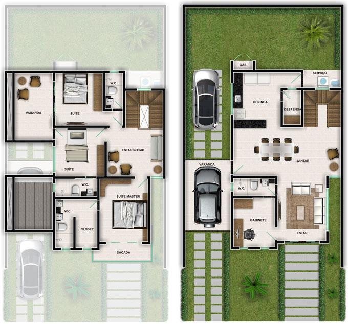 Plantas de casas duplex simples e pequenas decorando casas for Casas duplex modernas