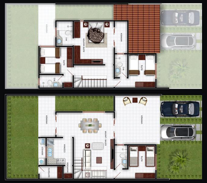 Plantas De Casas Duplex Simples E Pequenas Decorando Casas