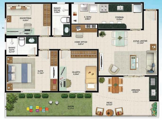 Plantas de casas t rreas com 3 quartos decorando casas - Plantas para casa ...