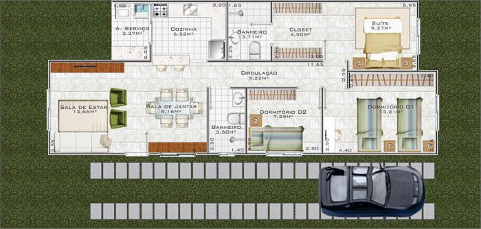 Plantas De Casas T Rreas Com 3 Quartos Decorando Casas
