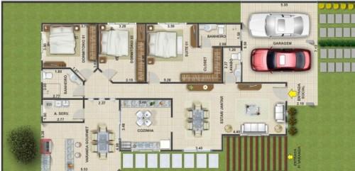 Plantas de casas t rreas com 3 quartos decorando casas for Casa moderna 7x20