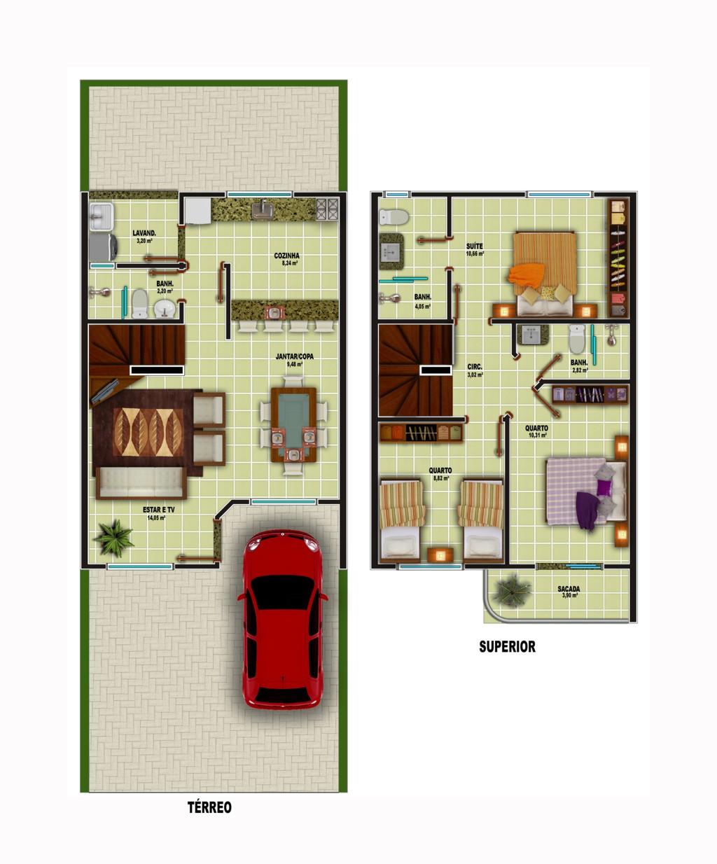 Plantas de sobrados pequenos e modernos Decorando Casas #792818 1024 1234
