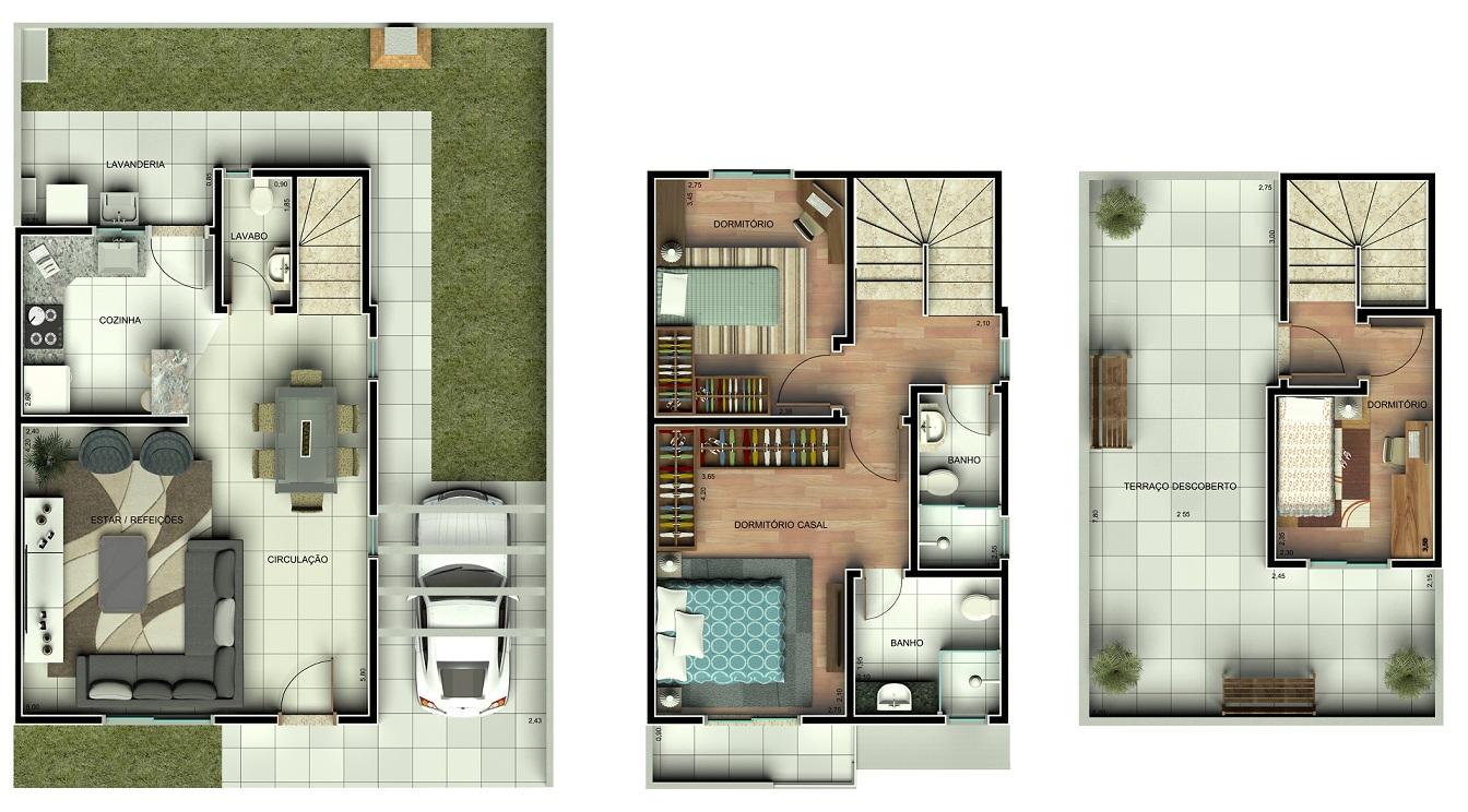 Plantas de sobrados pequenos e modernos decorando casas for Modelos de departamentos pequenos para construir