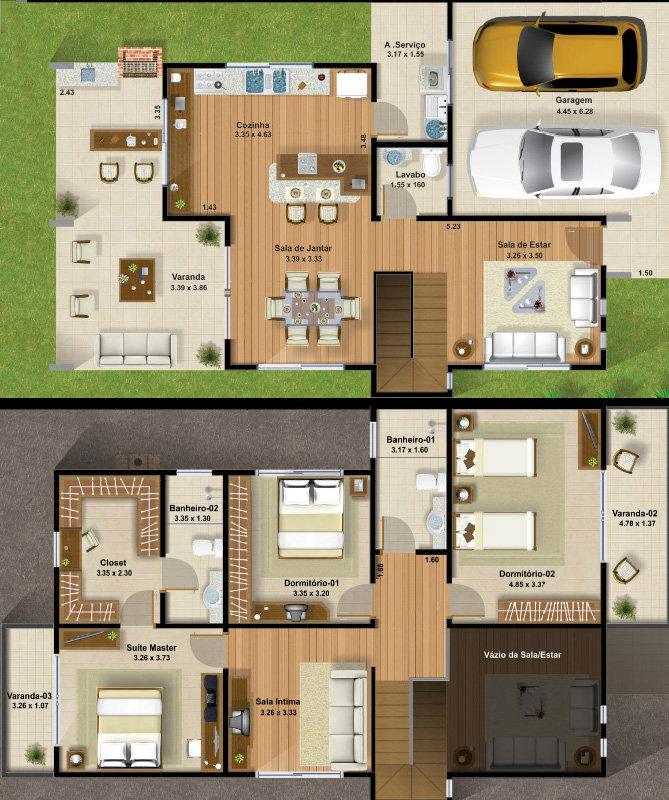 Plantas de sobrados pequenos e modernos decorando casas for Casa moderna 7x15