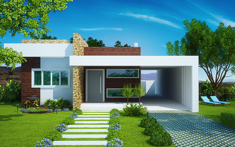 ideias jardins moradiasProjetos de casas térreas com 3 quartos