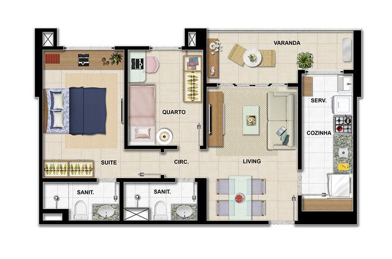 Favoritos Plantas de apartamentos com 2 quartos | Decorando Casas QJ05
