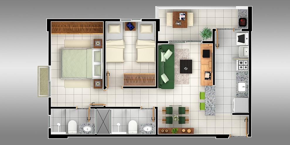 Muitas vezes Plantas de apartamentos com 2 quartos | Decorando Casas AJ28