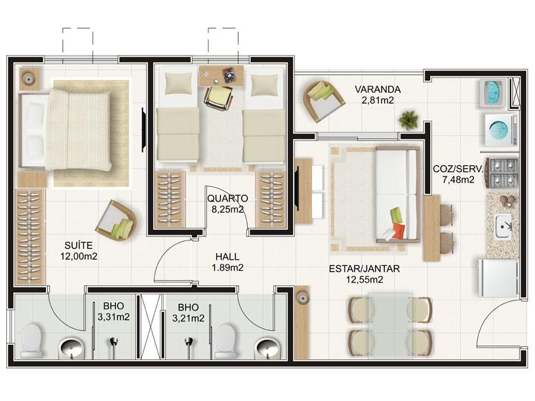Muito Plantas de apartamentos com 2 quartos | Decorando Casas WK08