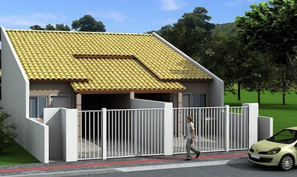 Fachadas de casas pequenas com telhados decorando casas for Modelos de casas minimalistas pequenas