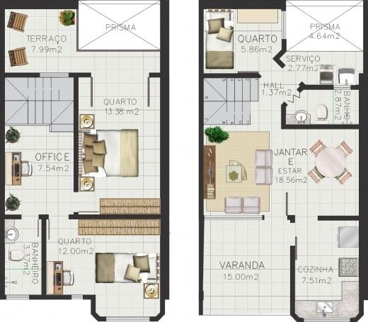 Plantas De Casas Duplex Com 3 Quartos Decorando Casas