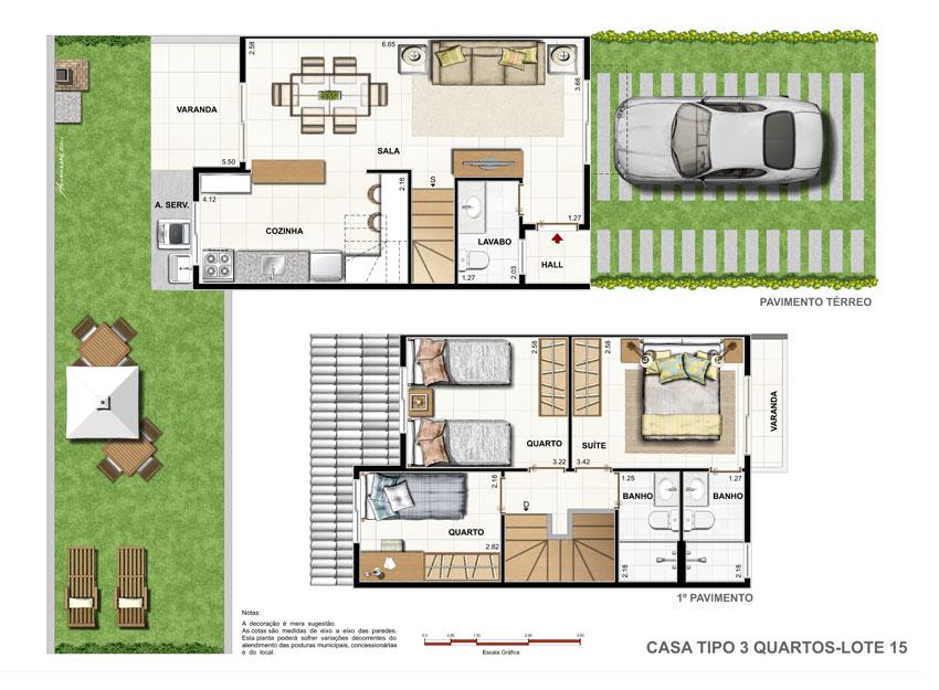 Plantas de casas duplex com 3 quartos decorando casas for Plantas para casa
