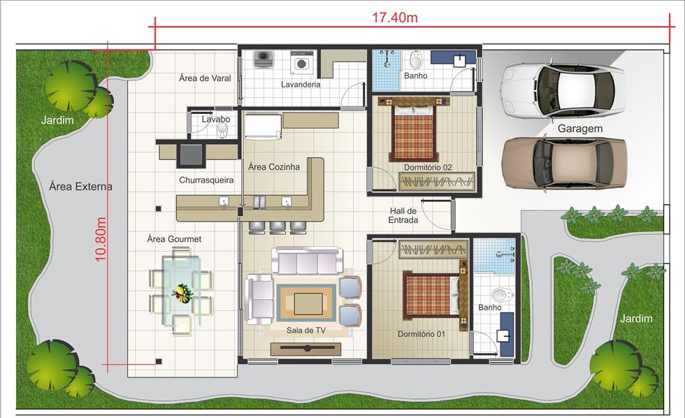 Plantas de casas t rreas modernas decorando casas for Casa moderna 80m2