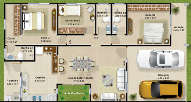 Plantas de casas térreas modernas  Decorando Casas