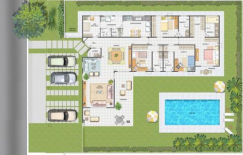Plantas de casas t rreas modernas decorando casas for Plantas para piscinas