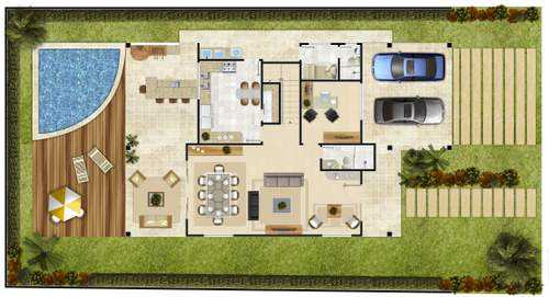 Projetos de piscinas planta baixa decorando casas for Plantas de casas modernas con piscina