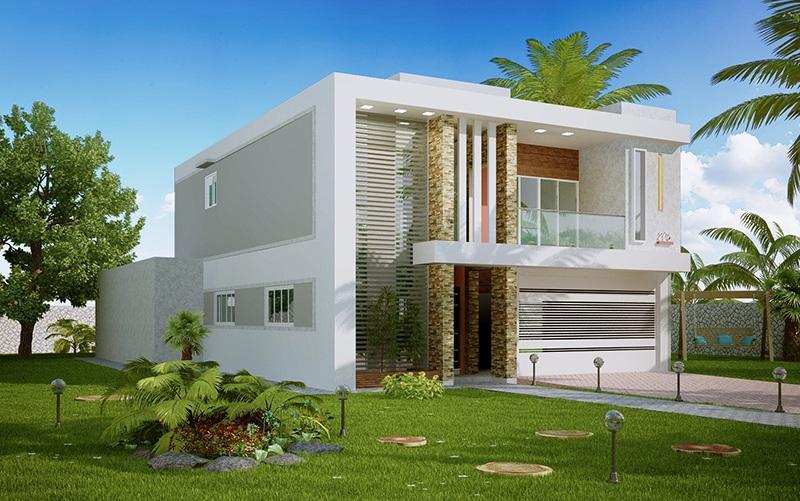 fachadas de sobrados modernos com sacadas decorando casas