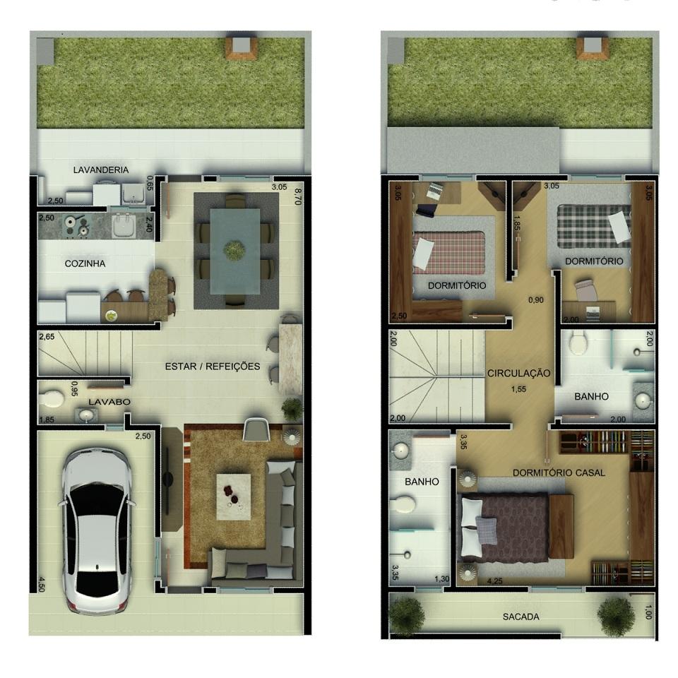 Plantas de sobrados pequenos com 2 quartos decorando casas for Casa moderna 4 ambientes