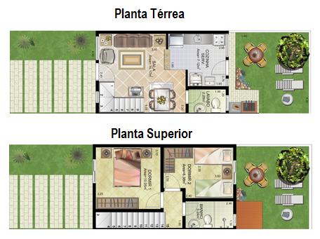 plantas-sobrados-pequenos-2-quartos