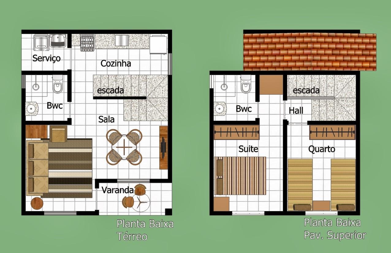 Plantas de sobrados pequenos com 2 quartos Decorando Casas #AB4E20 1276 826