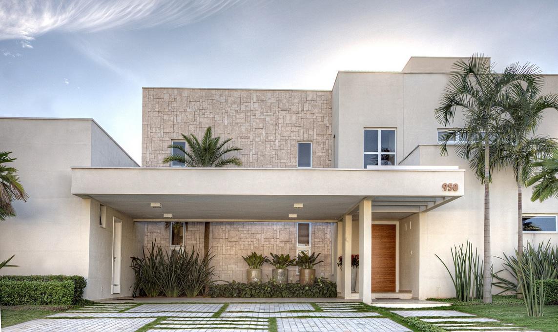Revestimentos externos fachadas casas decorando casas for Como hacer una fachada de casa moderna